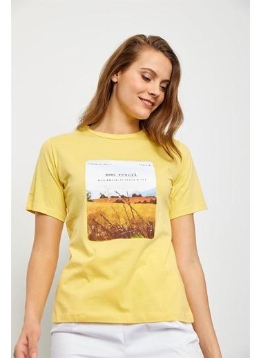 Setre Siyah Baskılı Kısa Kol T-Shirt Sarı